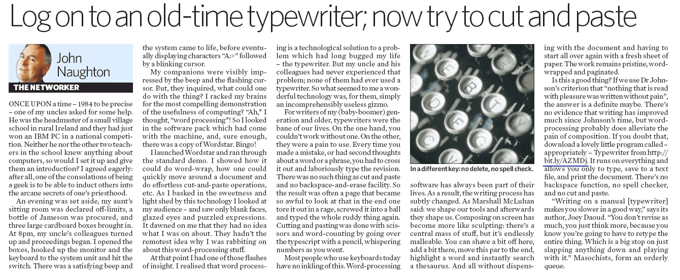 Typewriter Article