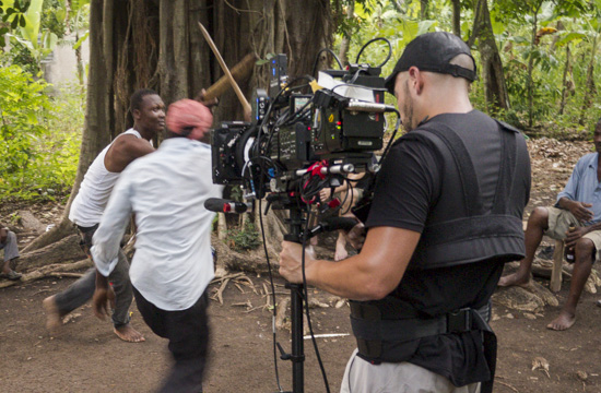 Richard Patterson filming Haitian machete fighters on Steadicam