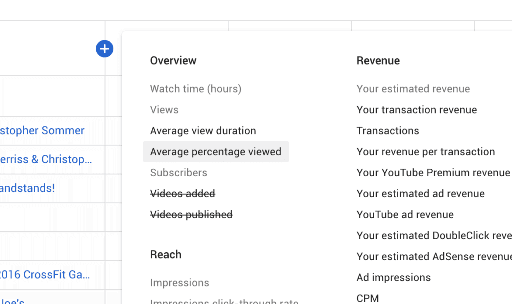 Where to select the Average Percentage Viewed column in YouTube Studio