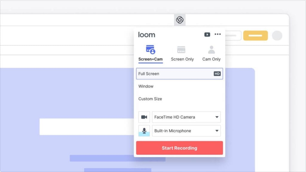 Loom screen recording interface