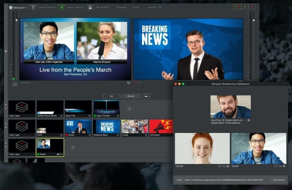 Wirecast interface with Rendezvous
