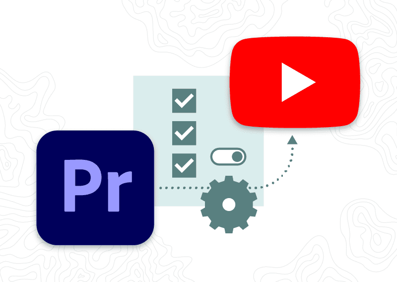 Adobe Premiere icon with arrow to YouTube